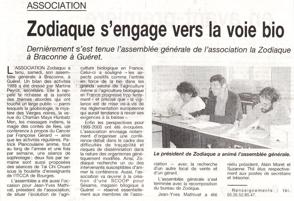 Association Le Zodiaque - Presse 26 avril 1999