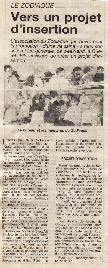 Association Le Zodiaque - Presse 2 mars 1995