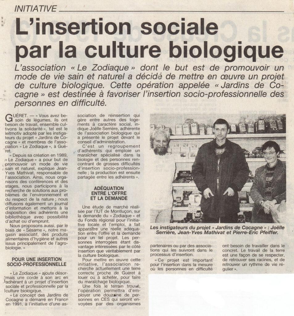 Association Le Zodiaque - Presse 7 janvier 1996
