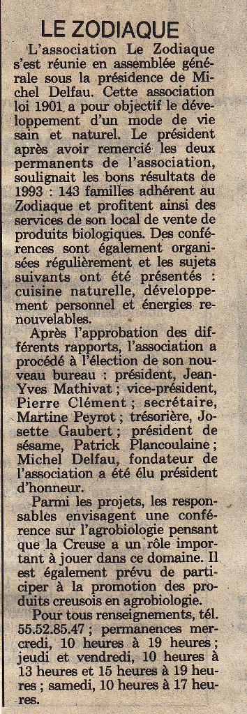 Association Le Zodiaque - Presse 10 février 1994