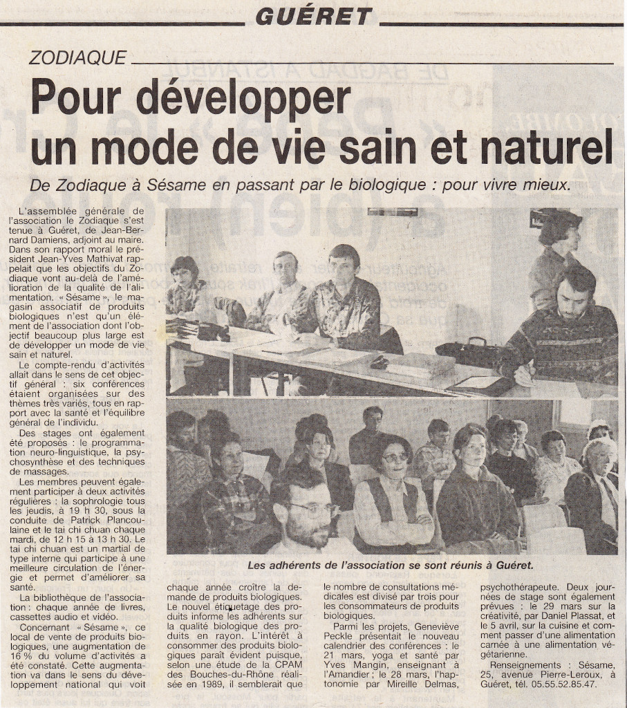 Association Le Zodiaque - Presse 13 mars 1997