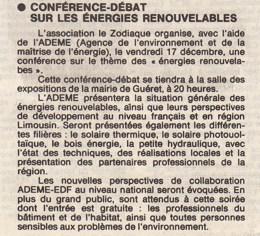 Association Le Zodiaque - Presse 15 décembre 1993