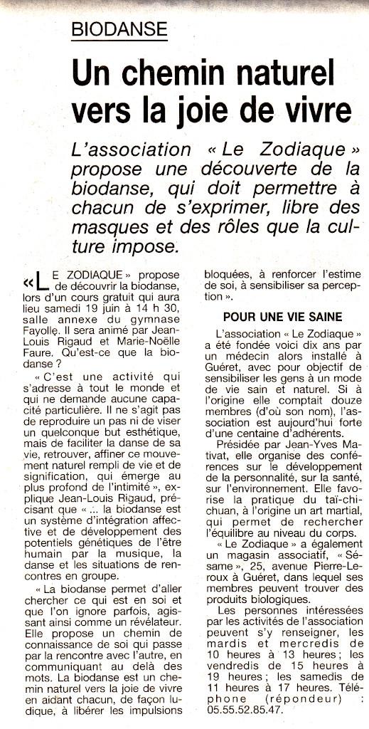 Association Le Zodiaque - Presse 17 juin 1999