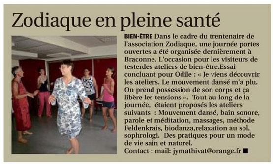 Association Le Zodiaque - Presse 18 juillet 2019