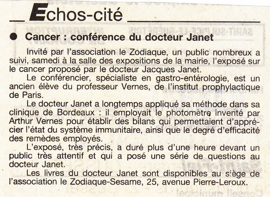 Association Le Zodiaque - Presse 19 octobre 1996