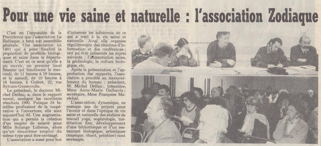 Association Le Zodiaque - Presse 1991