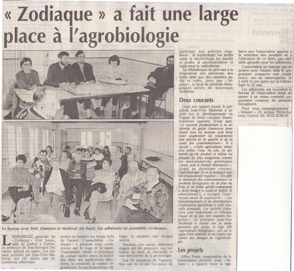 Association Le Zodiaque - Presse 24 mars 1998