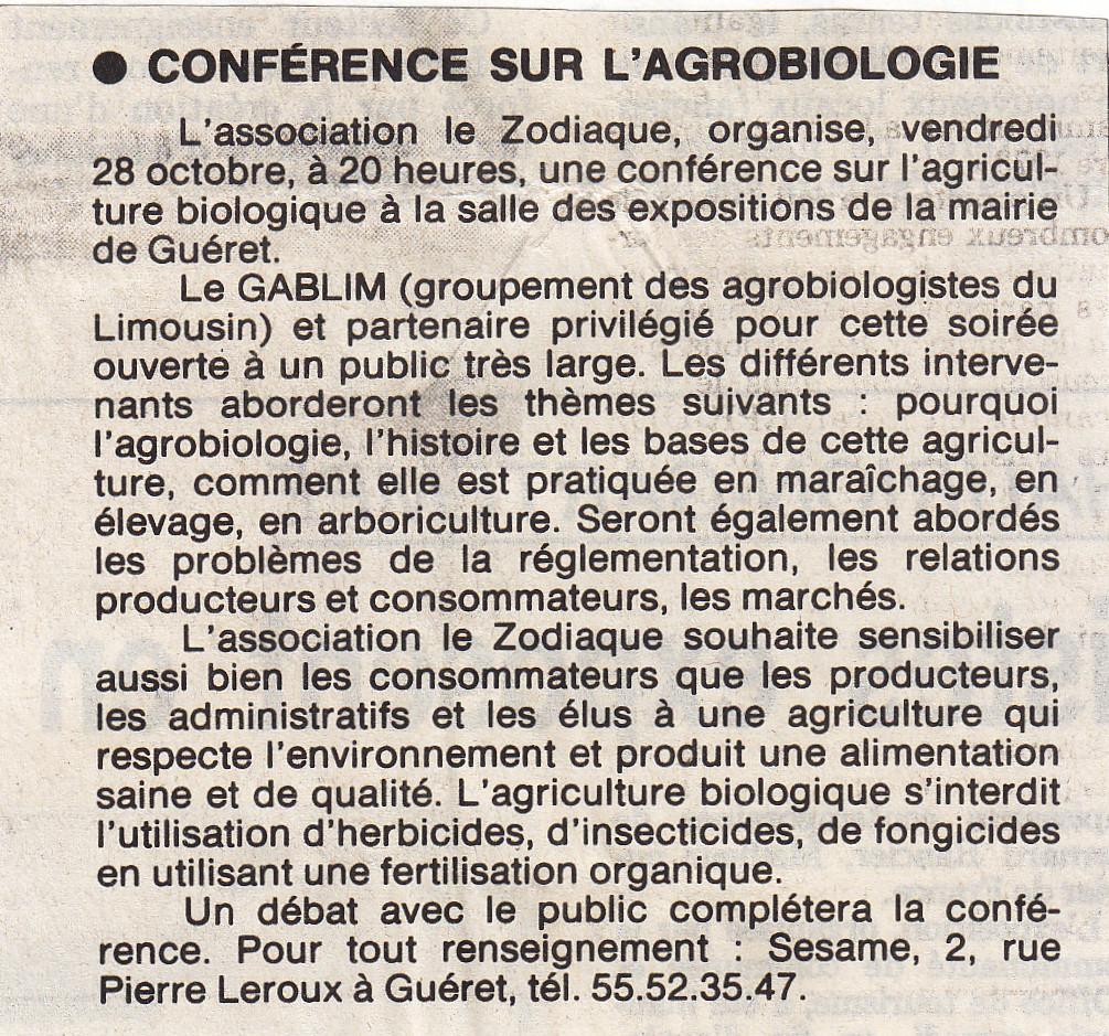 Association Le Zodiaque - Presse 25 octobre 1994