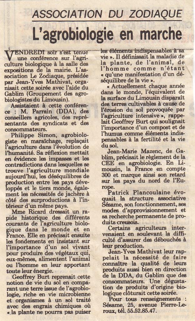 Association Le Zodiaque - Presse 31 octobre 1994