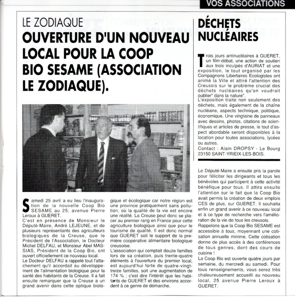 Association Le Zodiaque - Presse juillet 1992